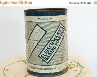 25% OFF SALE 40's Vintage Tin Canister, Fleischmann's Baking Powder Tin, Large Painted Tin Can