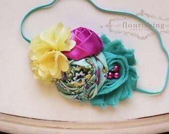 Turquoise, Yellow and Fuchsia headband, baby headbands, newborn headbands, fuchsia headbands, turquoise headbands,  photography prop