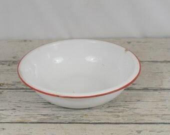 Vintage Enamelware Bowl White and Red Round Bowl Basin Graniteware