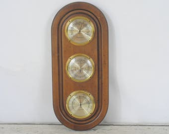 Vintage Airguide Weather Station Barometer Temperature Humidity Wood Frame