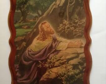 Vintage Warner Sallman 1941 Warner Press Litho in USA Jesus Religious Decoupage Plaque Art Wall Hanging Decor Christ in Gethsemane