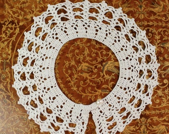 Hand crocheted collar- Women, girls- off-white, ecru- Peter pan collar for over sweaters, dresses, etc., Pearl button and snap closure