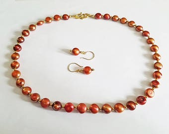 Caramel Bronze Freshwater Pearl Necklace and Earring Set