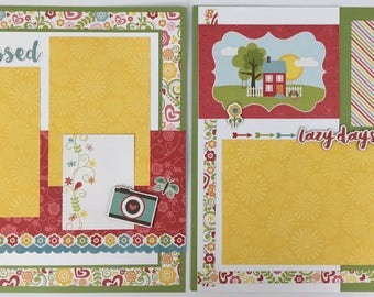 Pre-made Summer Scrapbook Page Layout 2 pages 12x12 Sun Vacation
