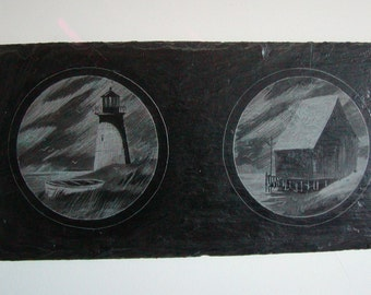 SALE Vintage Etchings on Slate Wall Hanging Nautical Theme Lighthouse and Fish Shack EMIL Hand Made  USA