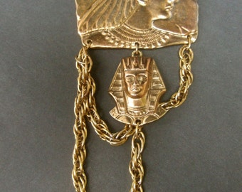 Unique Egyptian Theme Gilt Metal Brooch
