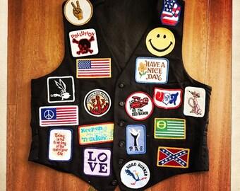 Awesome OOAK Vintage 70s Hippie Boho PEACE LOVE Rocker Patch Vest - Size Large