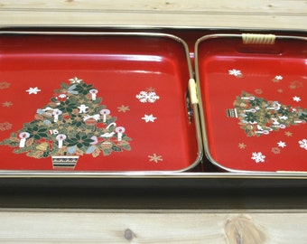 Vintage Christmas Lacquer Serving Tray Set Japan Red Tree Lacquerware Nesting Holiday Decor Original Box Set of 3