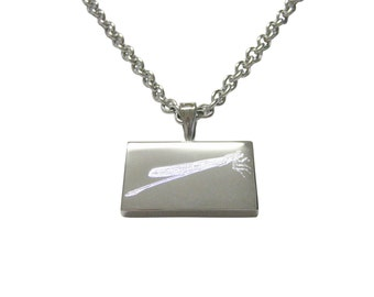 Silver Toned Etched Dragonfly Pendant Necklace