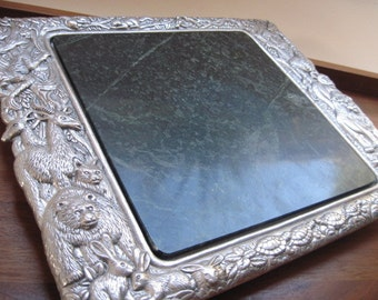 Vintage Arthur Court Animal Patterned Aluminum and Marble Serving Tray