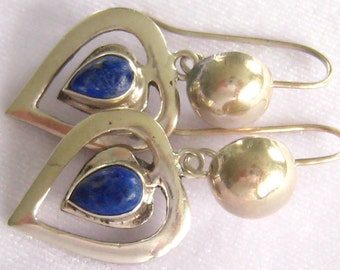 SALE Sterling & Lapis HEART Drop Earrings have Creative Vintage Design Work Including Cut-Outs , Added Ball Design on Nice Long Ear Wires