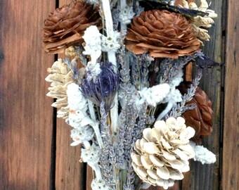 Misty Mountain - Dried Pine Cone Decor or Unique Bridal Bouquet - Pine, Cedar, Lavender, Lamb's Ear, Osage & Queen Anne's Lace