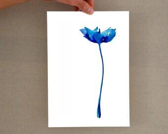 Modern blue flower glicee print - Minimal flower, floral art, flower print, botanical print, flower, tulip print, tulip, tulip art, digital