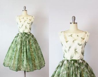 vintage 50s party dress / 1950s green and white chiffon dress / pine needle print dress / holiday dress / Frosted Pine dress