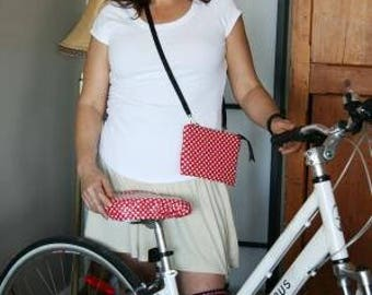 Red Polka Dots Bike Handlebar Convertible Pouch - Clutch - Hipster Bag - Crossbody Bag