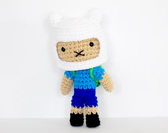 Finn - from Adventure Time - Roseberry Town Collection - Inspired Amigurumi Plush Doll by Roseberry Arts