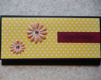Birthday Cash/Check Gift Holder - flowers on yellow print