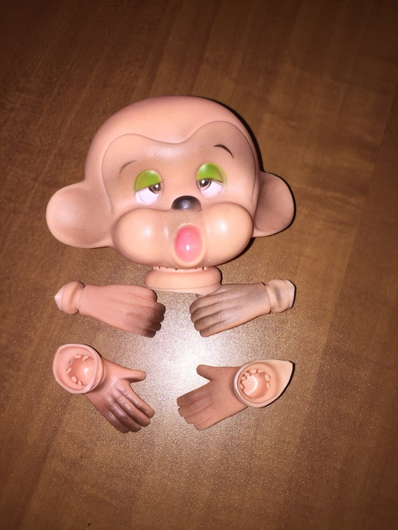 Vintage Tired Monkey Doll Head with Hands and Feet Dollmaking Supplies NOS H5