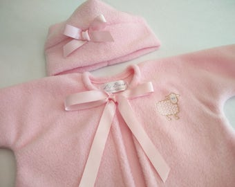 Baby Girl Hat and Sweater Set, Soft Fleece  2 Piece Baby Jacket and Hat Set