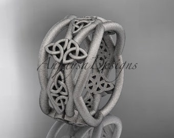 14kt white gold celtic trinity knot wedding band, matte finish wedding band, engagement ring CT7519G