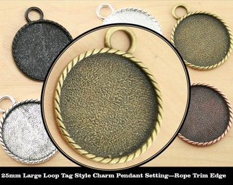 10-25mm Large Loop Rope Trim Edge Tag Style Pendant Tray Charm. 5 Color Choices Alloy Optional ...