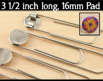 BULK 100 - DIY Jumbo Paper Clip BookMarks. 3 1/2 Inch in Length. 16mm Attached Glue Pad.