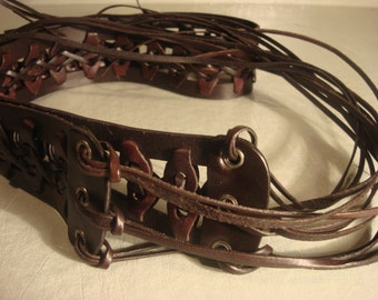 Vintage 1990s Boho Dark Brown Leather Weaved Tie Belt with Tassles