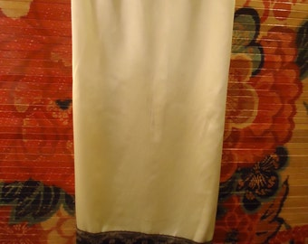 Embellished Bohemian Satin & Lace Tea Slip Skirt