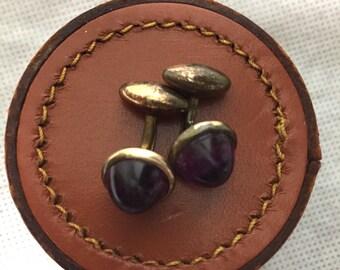 Purple glass 1920s 1930s cufflinks