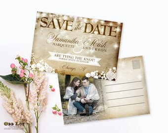Printable Rustic Save the Date Postcard, Vintage Save the date, Floral Postcard with Photo, Printable Postcard, DIY Save the date trendy