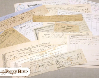 Vintage Receipts 16 Pieces | Authentic Antique Receipts |  INSTANT COLLECTION