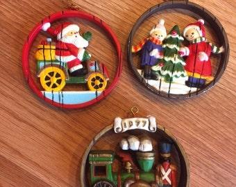 RARE Vintage 3 HALLMARK CARDS Inc Christmas Round Ornaments Santa Workshop Tree