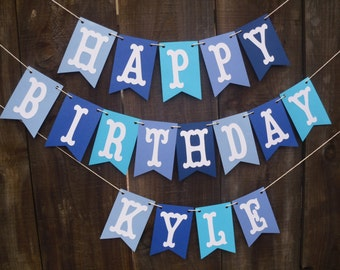 Happy Birthday Banner - Boys Happy Birthday Banner, Blue Birthday Banner, Can Be Personalized With Name