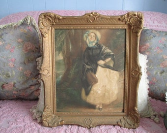 Antique Woman Chromo Lithograph in Wood Ornate Frame, Victorian, French, Vintage