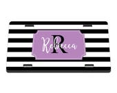 Striped Personlaized Printed Personalized License Plate / Gift Idea / Gift for her / New Driver / Car Accessories / Vanity Plate / New Car