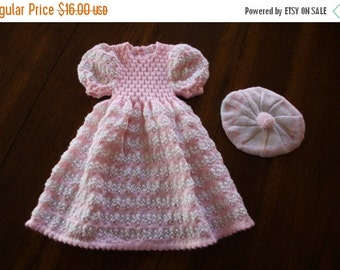 ON SALE Vintage crochet baby dress and tam / pretty in pink and cream 2 piece set / baby girl newborn 0 to 6 months