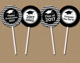 Graduation Party Supplies Printable Black and White Chevron Cupcake Toppers, Graduation Cupcake Topper, Class of 2017 Tags for Grad Party G3