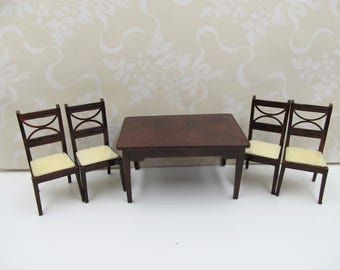 Vintage Renwal RARE Brown Kitchen Table Chairs,  Renwal Collectors Brown Kitchen Table and Chairs, Renwal Marx Ideal Dollhouse Kitchen