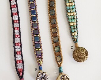 Leather Beaded Bracelet, Teal, Brown, Purple, Red, Beaded Bracelet, Leather Bracelet