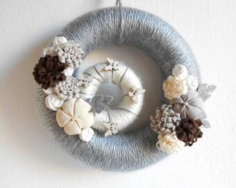 Nordic wreath grey wreath Rustic scandinavian wreath fabric flowers butterflies