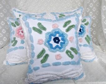 Chenille Pillow, Handmade Pillow, Vintage Chenille Pillow, Nursery Pillow, Throw Pillow, Accent Pillow, Accent Pillow, Cotton Pillow,