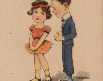 Cute Vintage Comic Valentine's Day Greetings Postcard Signed K B Kemble Pink Of Perfection Copyright