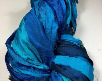 Recycled Sari Silk Ribbon Turquoise Multi Shade Jewelry Gift Wrap Ribbon Fair Trade Fiber Art Felt Knit Crochet Supply