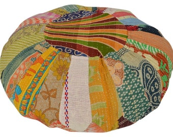 Vintage Kantha Patchwork Pouffe Cover Pouf Floor Cushion DV74