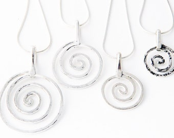 Metal jewelry, silver jewelry- extra large silver spiral necklace, swirls necklace