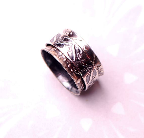 spinner ring silver bat ring gothic wedding ring wiccan jewellery spinning ring