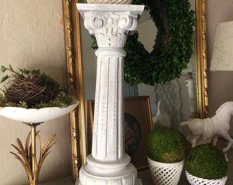 Antique Carved Wood Pedestal Pillar Column Plantstand Carved Wood Capital