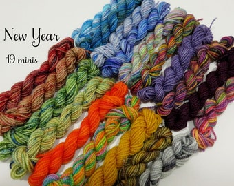 New Year - 19 Sock Yarn Miniskeins - 12 yds each, 228 yds total
