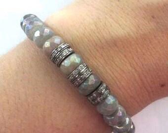 Pave Diamond And Faceted Labradorite Stretch Bracelet, Boho Bracelet, Stacking Bracelet