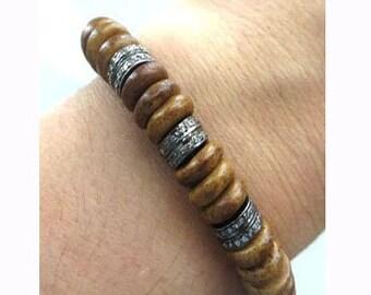 Pave Diamond Sterling Silver Ox Bone Flattened Disc Rondelle Stretch Bracelet/Boho Chic Bracelet/Yoga Bracelet